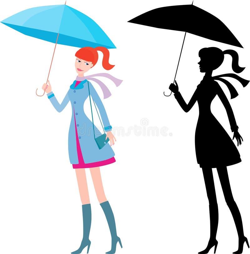 Meisje met de blauwe paraplu royalty-vrije illustratie