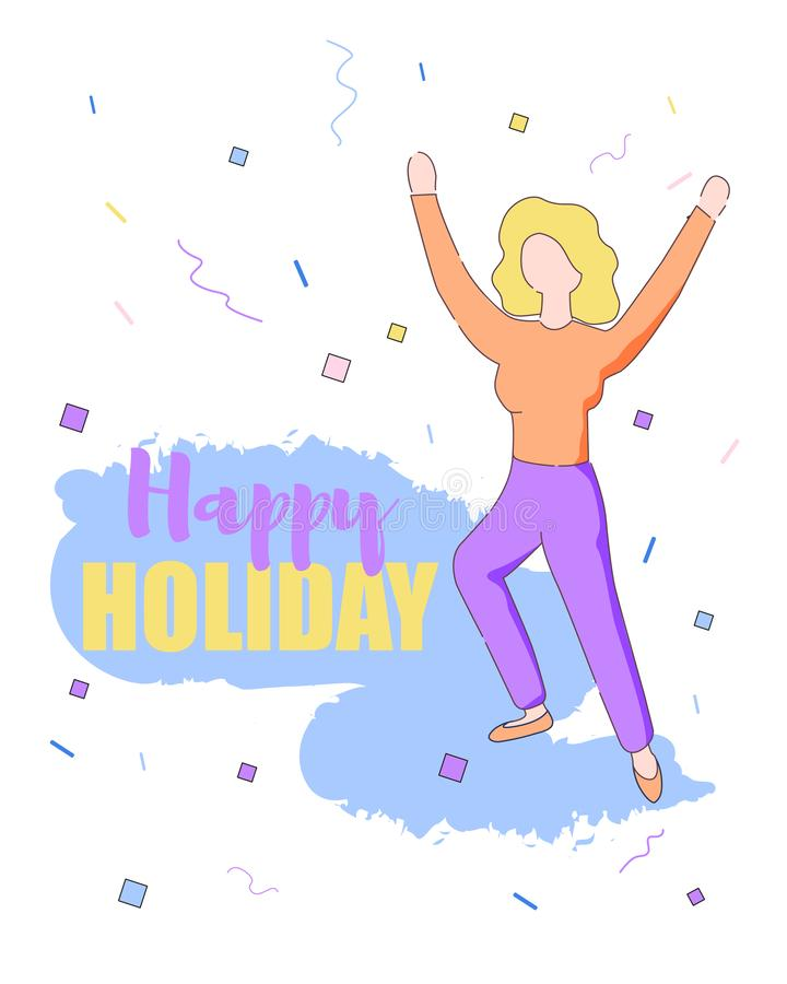 Meisje met de Dans van het Blondehaar op Confettienachtergrond vector illustratie