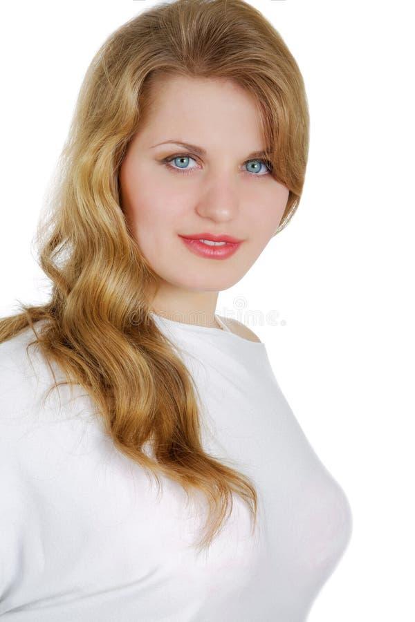 Meisje met de grote borst op een wit royalty-vrije stock foto