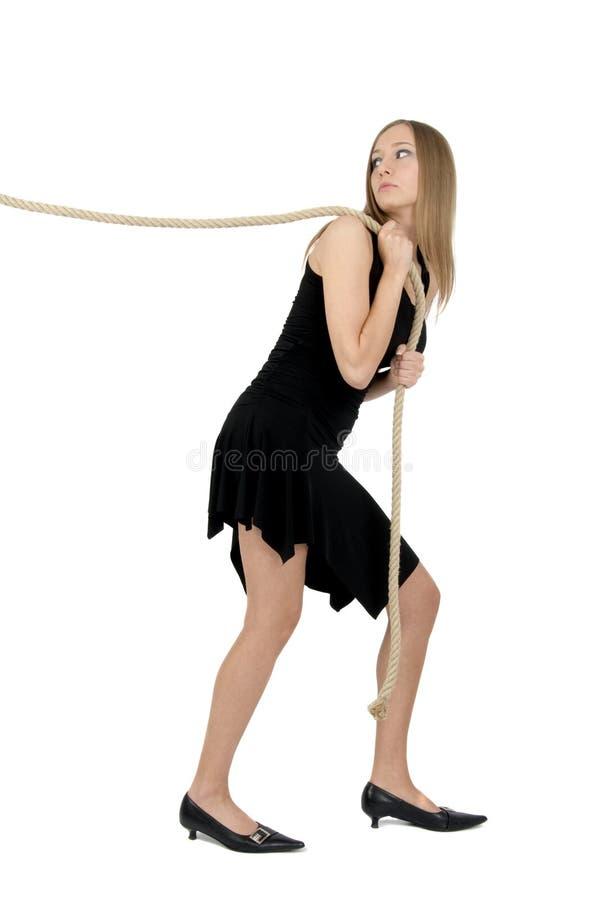 Meisje met de kabel stock foto