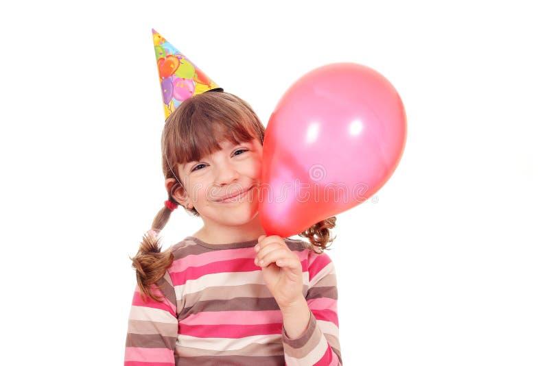 Meisje met de partij van de ballonverjaardag royalty-vrije stock afbeeldingen