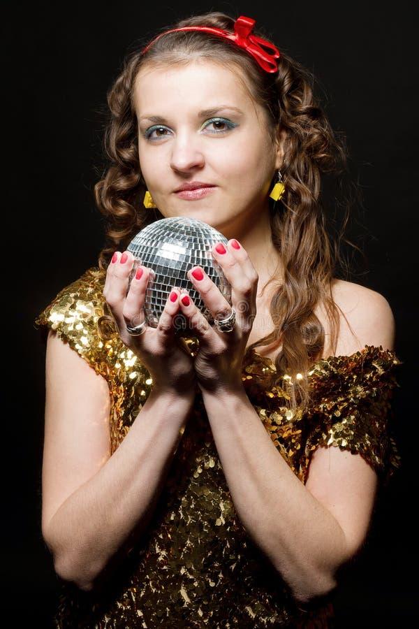 Meisje met discobal royalty-vrije stock afbeelding