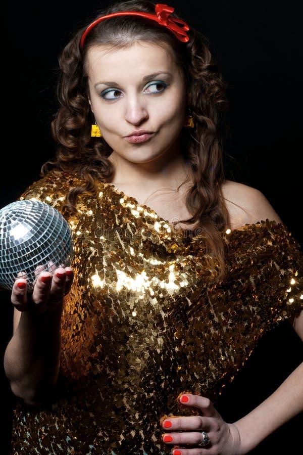 Meisje met discobal royalty-vrije stock afbeeldingen