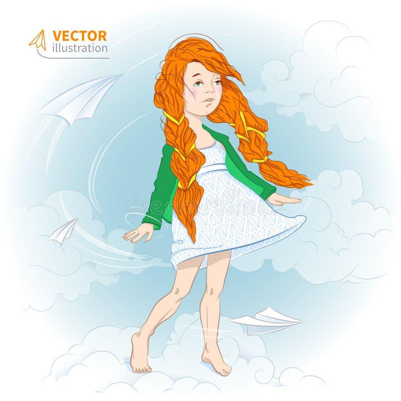Meisje met document vliegtuig vector illustratie