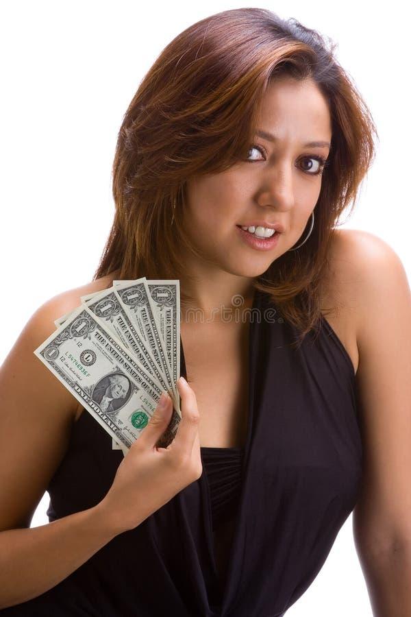Meisje met dollarrekeningen stock afbeelding