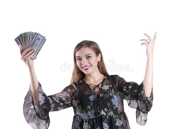 Meisje met dollars geïsoleerd leuk uitdrukkingsgebaar stock foto