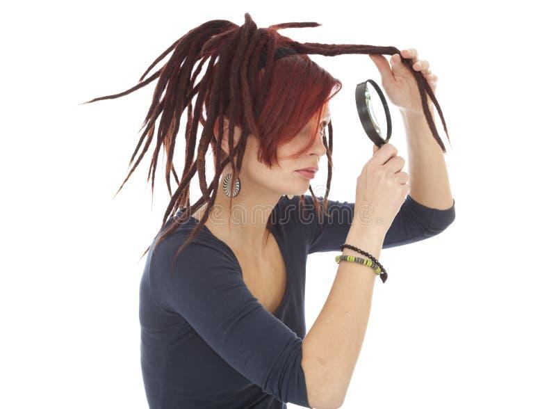 Meisje met dreadlocks stock afbeelding