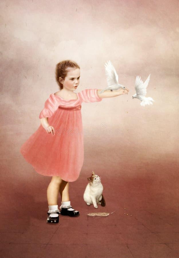 Meisje met duiven royalty-vrije stock fotografie