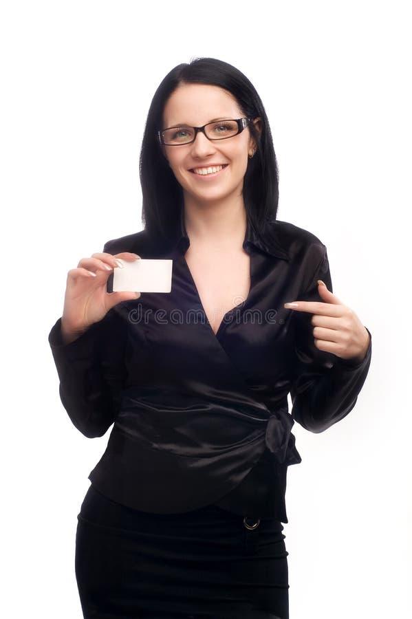 Meisje met een adreskaartje stock foto's