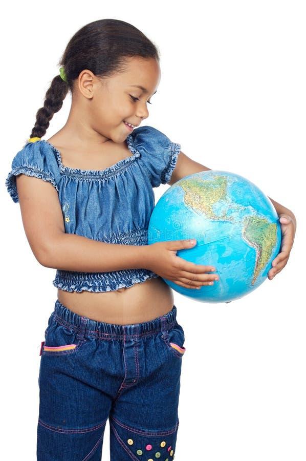 Meisje met een bol van de wereld royalty-vrije stock afbeeldingen