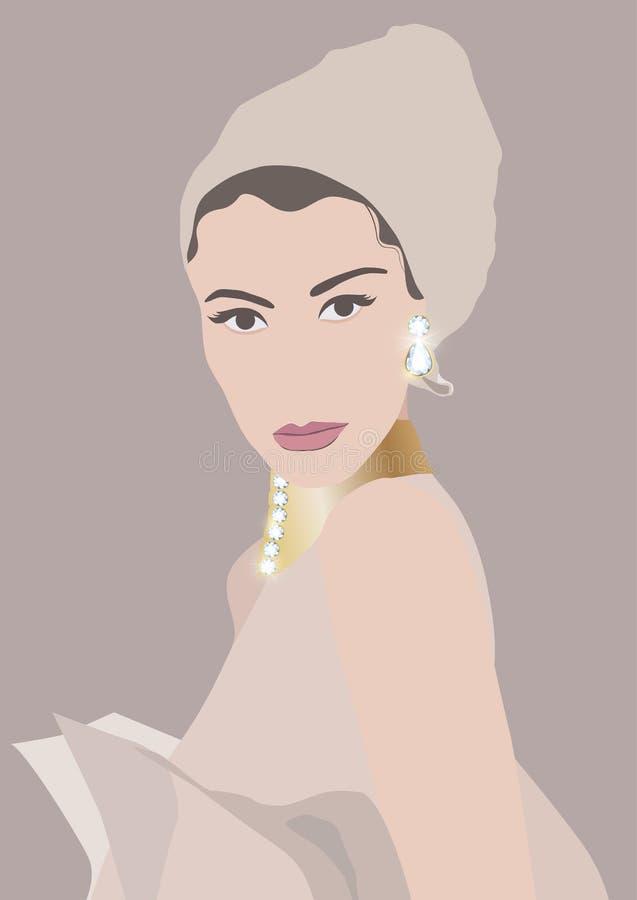 Meisje met een diamantoorring royalty-vrije illustratie