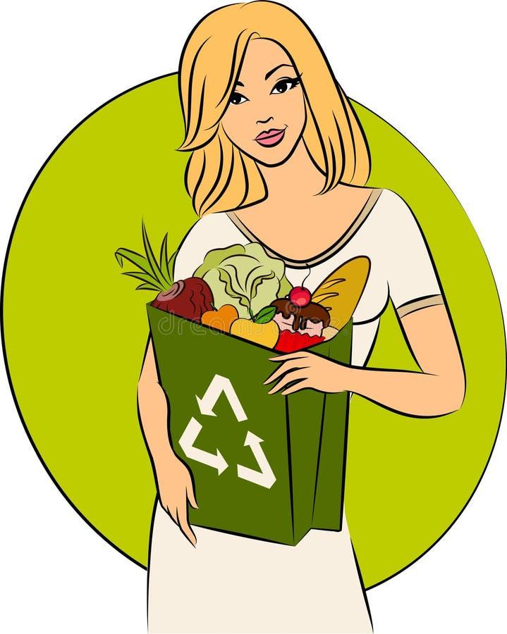 Meisje met een het winkelen zak stock illustratie