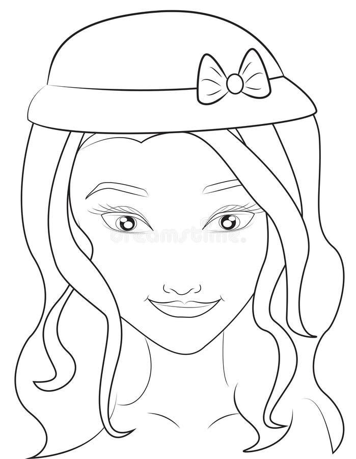 Meisje met een hoeden kleurende pagina royalty-vrije illustratie