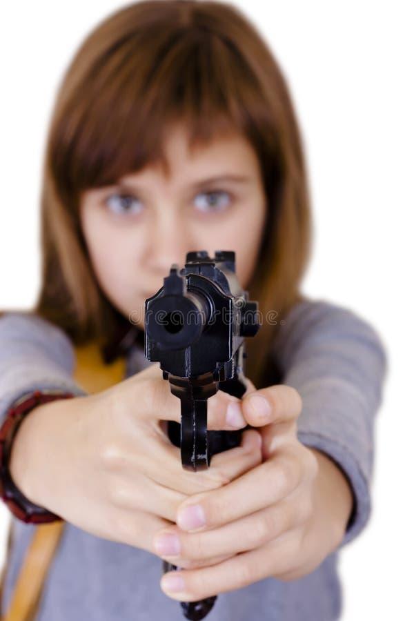 Meisje met een kanon stock afbeeldingen