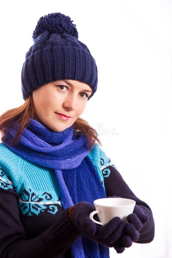 Meisje met een kop stock afbeelding
