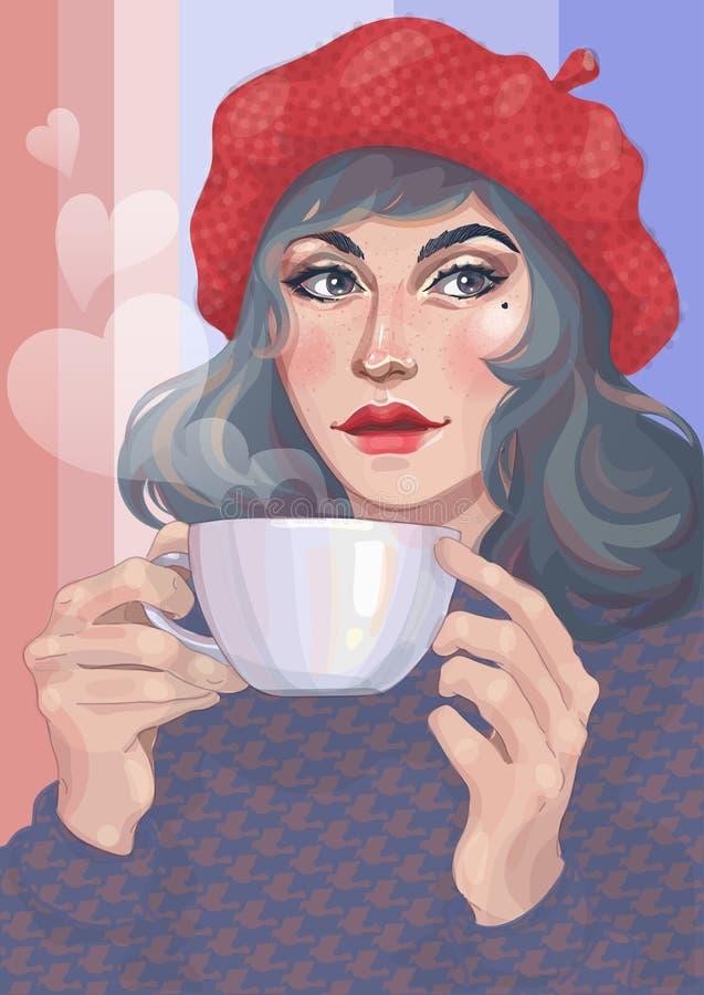 Meisje met een kop van hete drank royalty-vrije illustratie