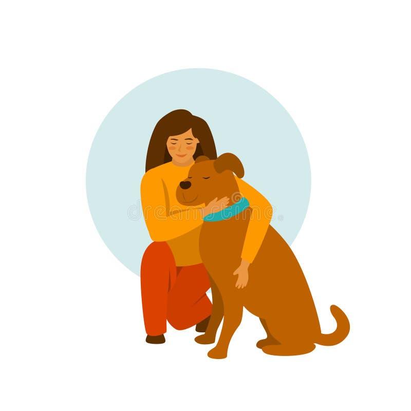 Meisje met een leuke vectorillustratie van de hondomhelzing vector illustratie