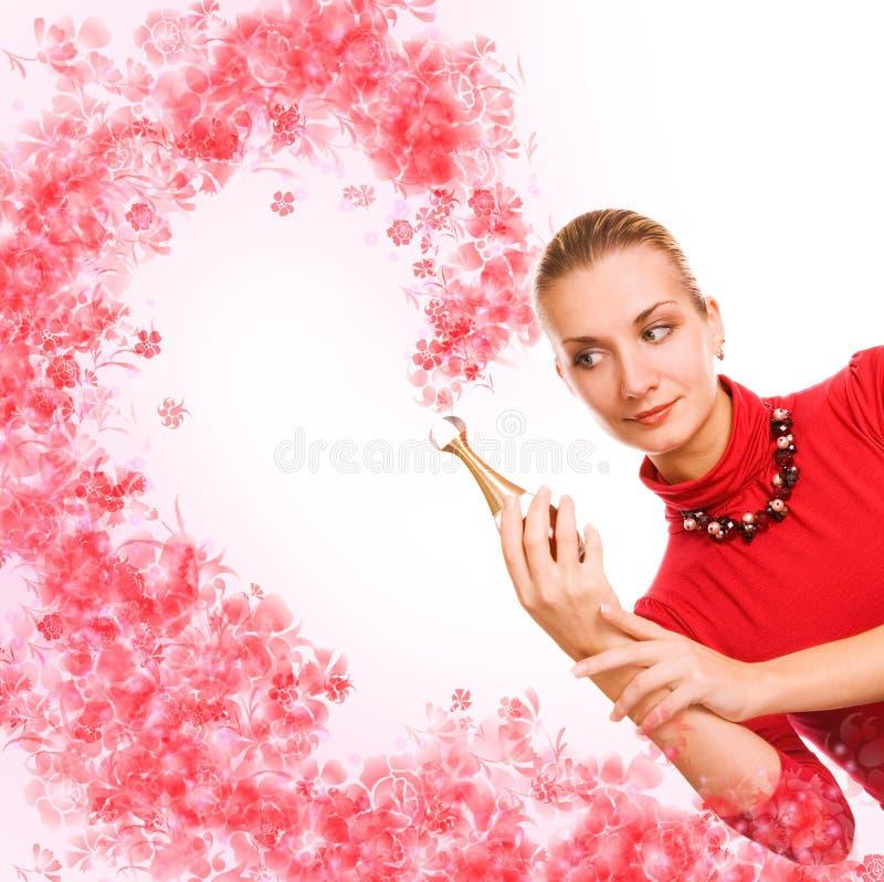 Meisje met een magische fiool stock afbeelding