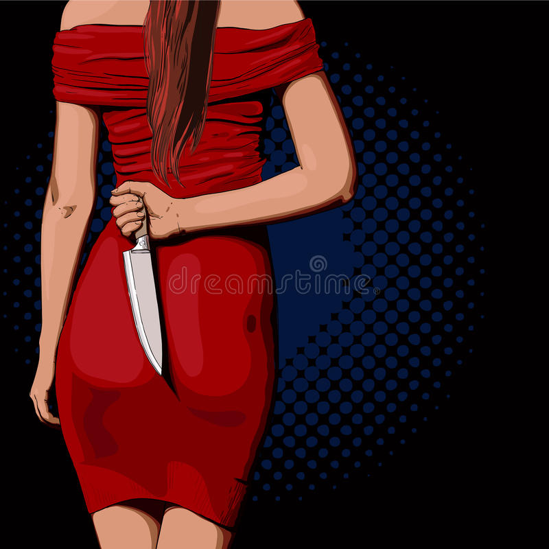 Meisje met een mes stock illustratie