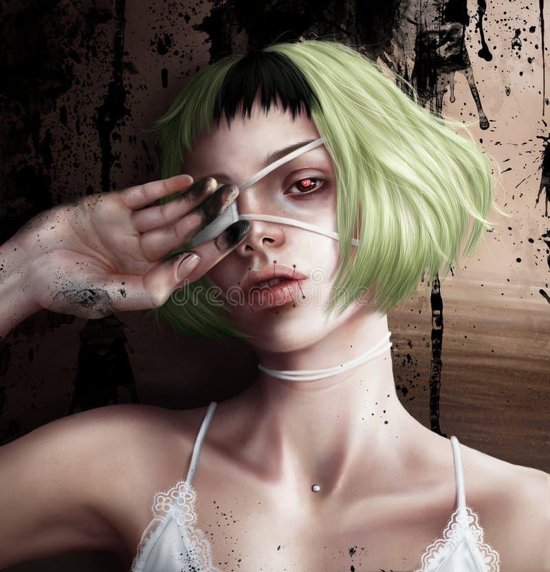 Meisje met een oogflard royalty-vrije illustratie