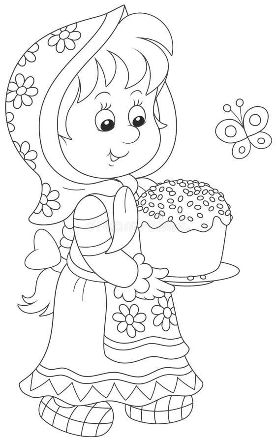 Meisje met een Pasen-cake stock illustratie