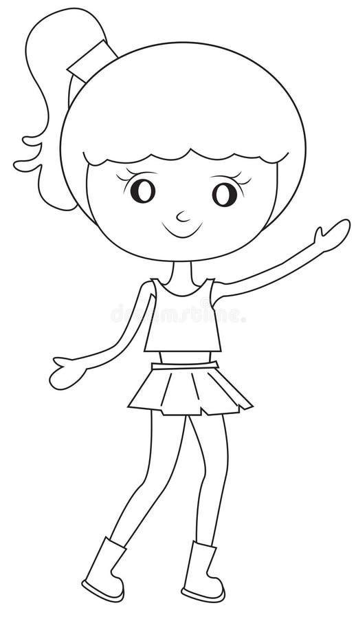 Meisje met een poney-de steel verwijderde van haar kleurende pagina vector illustratie