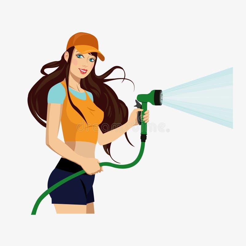 Meisje met een slang stock illustratie