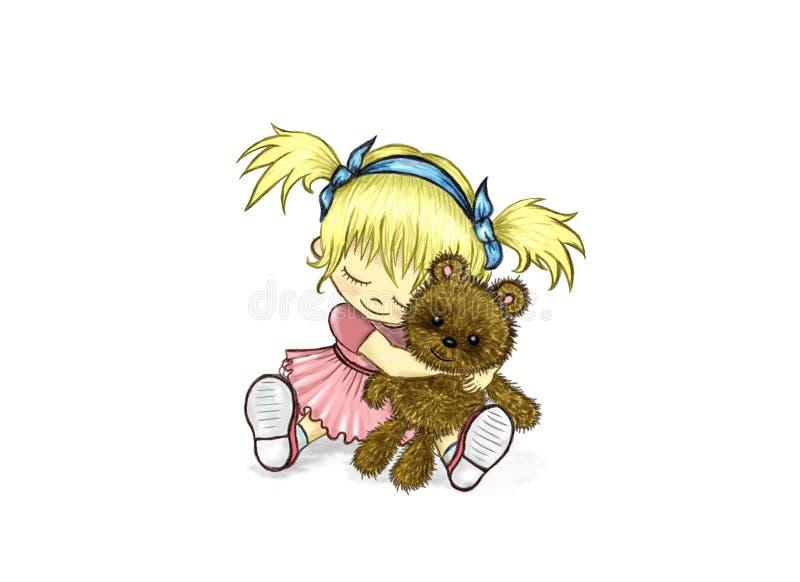 Meisje met een teddybeer stock illustratie