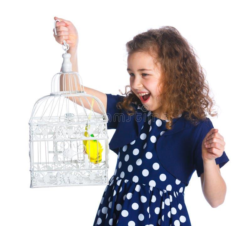 Meisje met een vogel stock foto