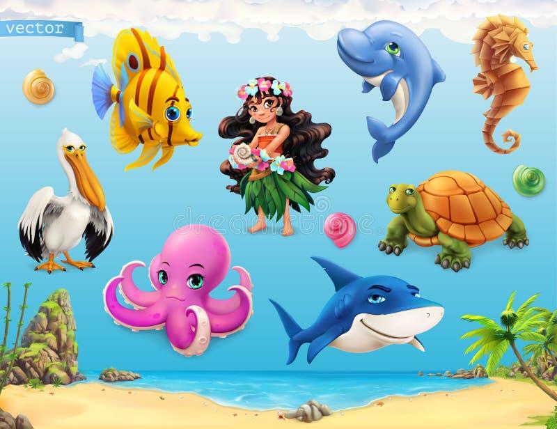 Meisje met een zeeschelp Grappige overzeese dieren en vissen Drie kleurenpictogrammen op kartonmarkeringen vector illustratie