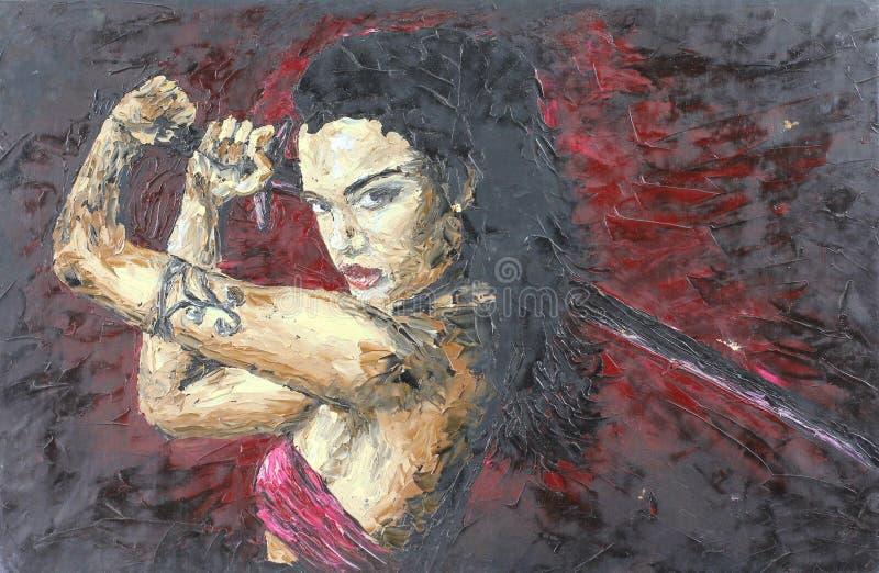 Meisje met een zwaard, olieverfschilderij vector illustratie