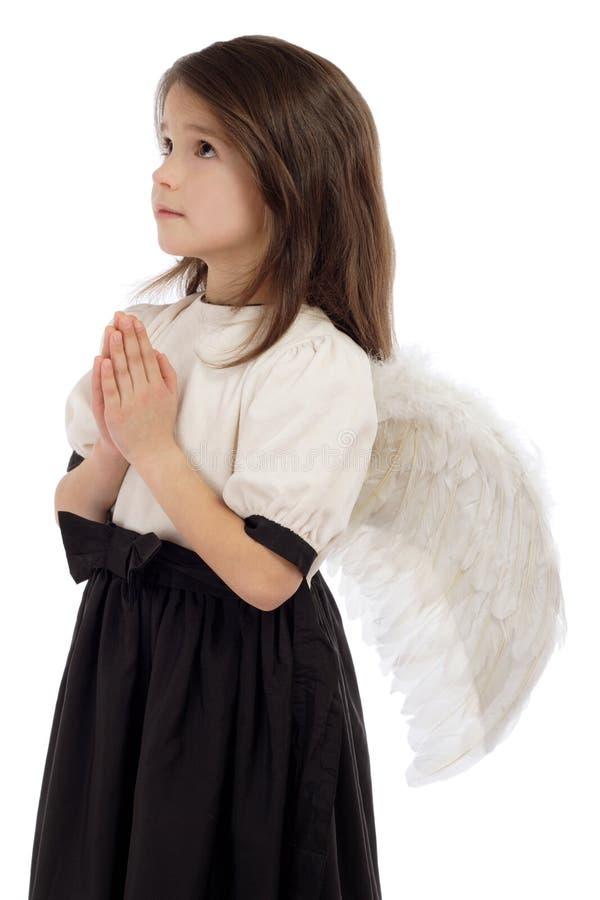 Meisje met engelenvleugels stock afbeelding