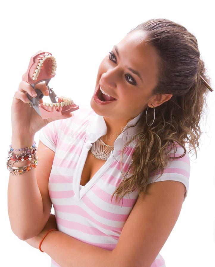 Meisje met gebit royalty-vrije stock afbeeldingen