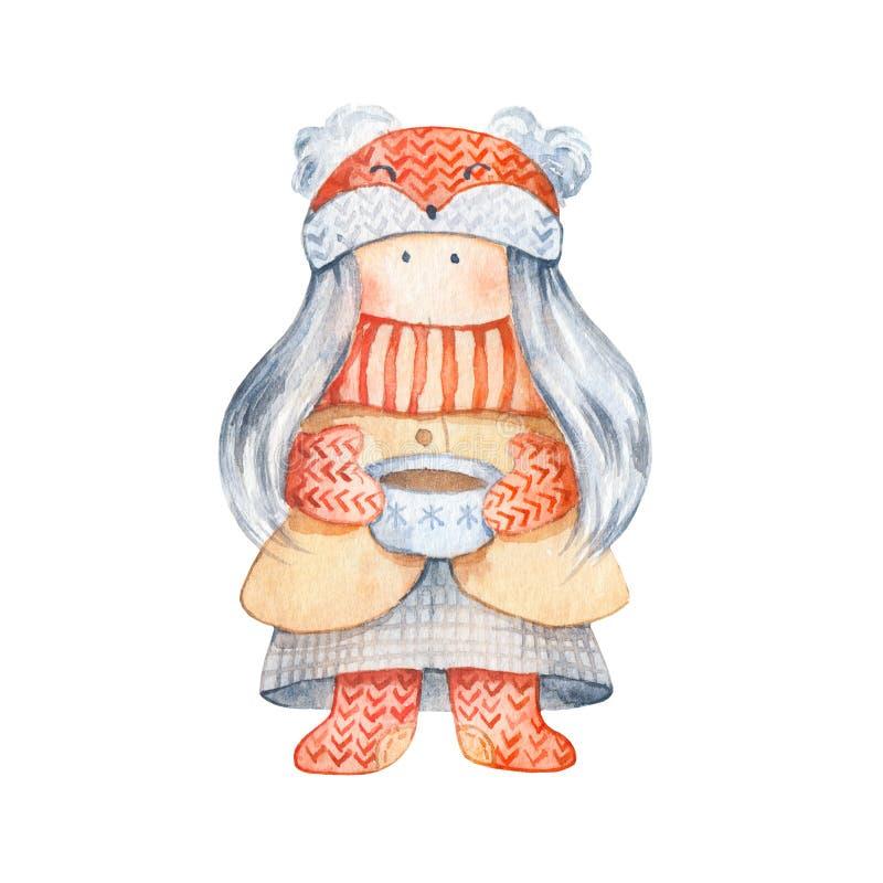 Meisje met gebreide sjaal en foxy hoed, kop thee royalty-vrije illustratie