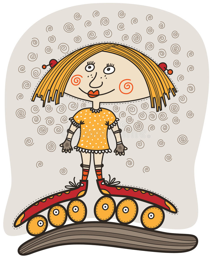 Meisje met geel haar die zich in rode rollen bevinden stock illustratie