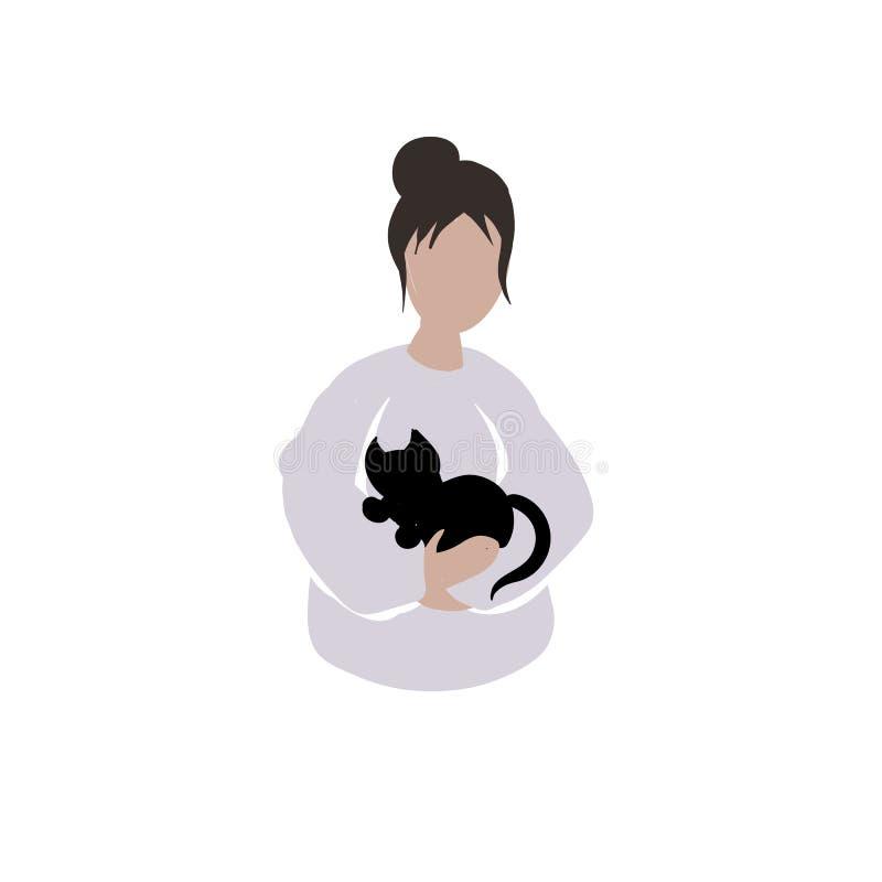 Meisje met gescheurde klappen die een zwarte kat houden royalty-vrije illustratie