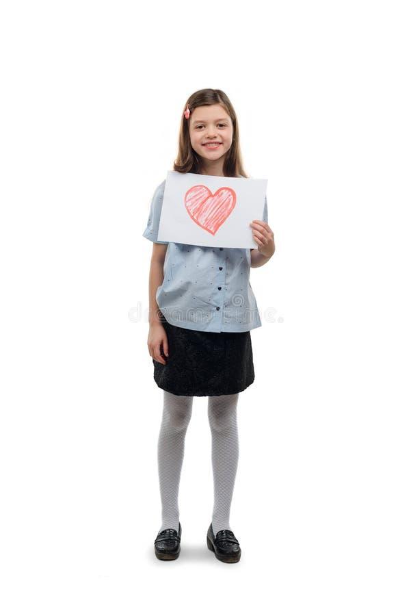 Meisje met geschilderd hart royalty-vrije stock foto
