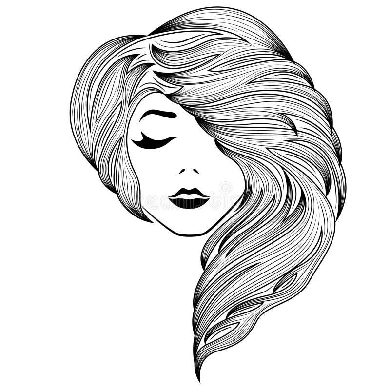 Meisje met gesloten oog en schitterend haar stock illustratie