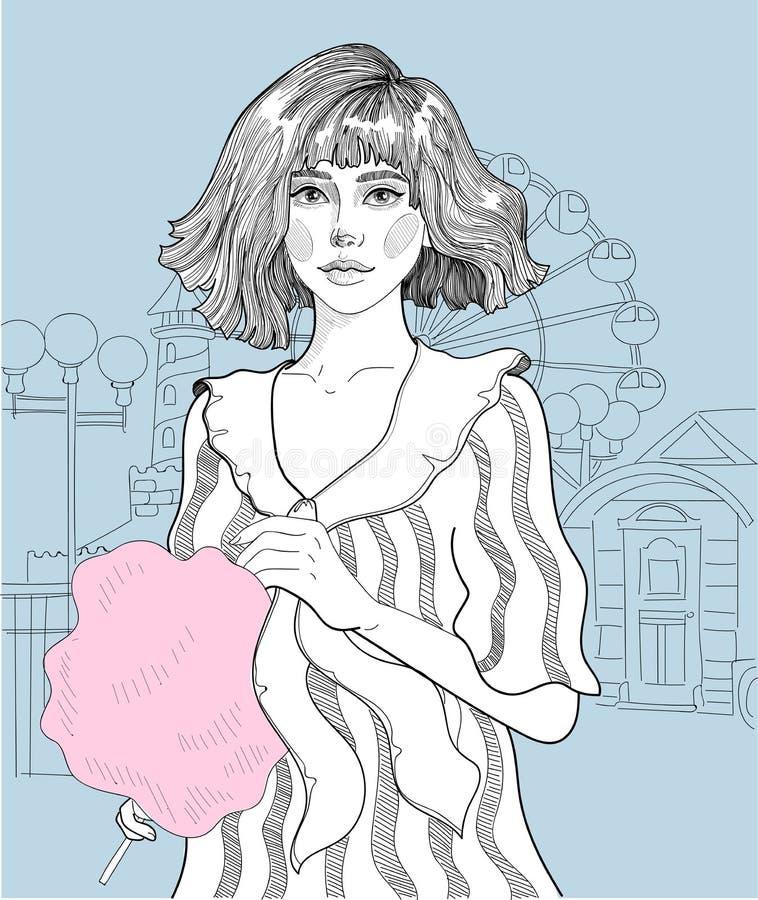 Meisje met gesponnen suiker royalty-vrije illustratie