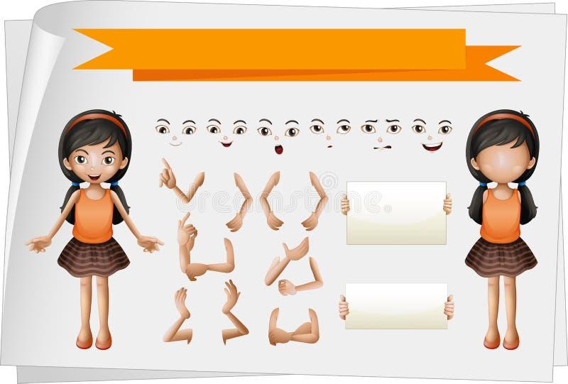 Meisje met gezichts en handuitdrukkingen vector illustratie
