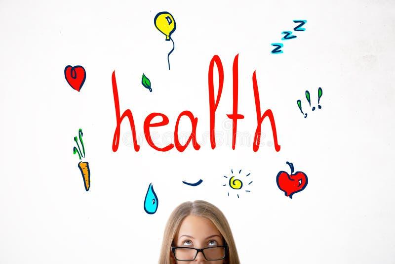 Meisje met gezondheidsschets royalty-vrije stock afbeeldingen