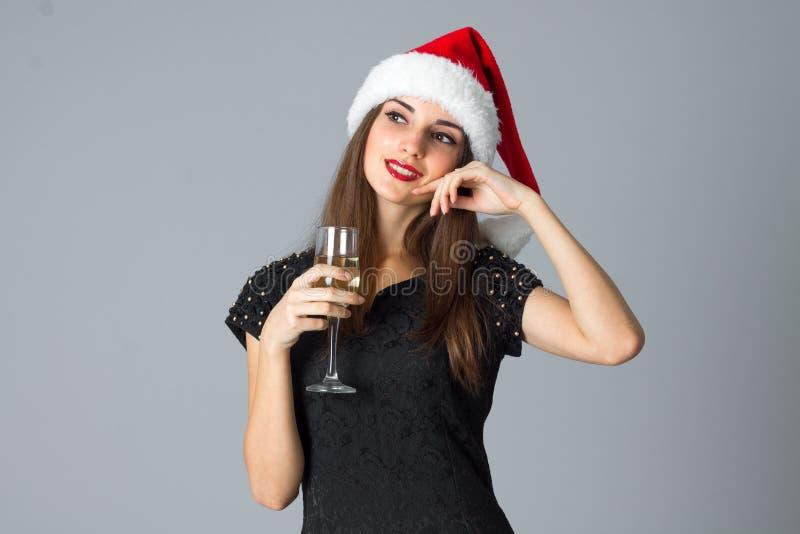 Meisje met glas champagne royalty-vrije stock afbeelding