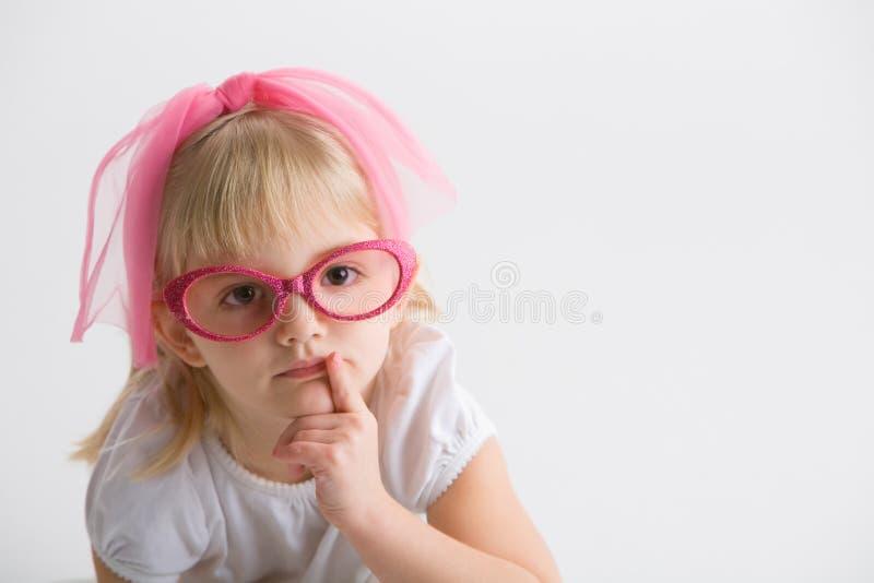 Meisje met glazen stock foto