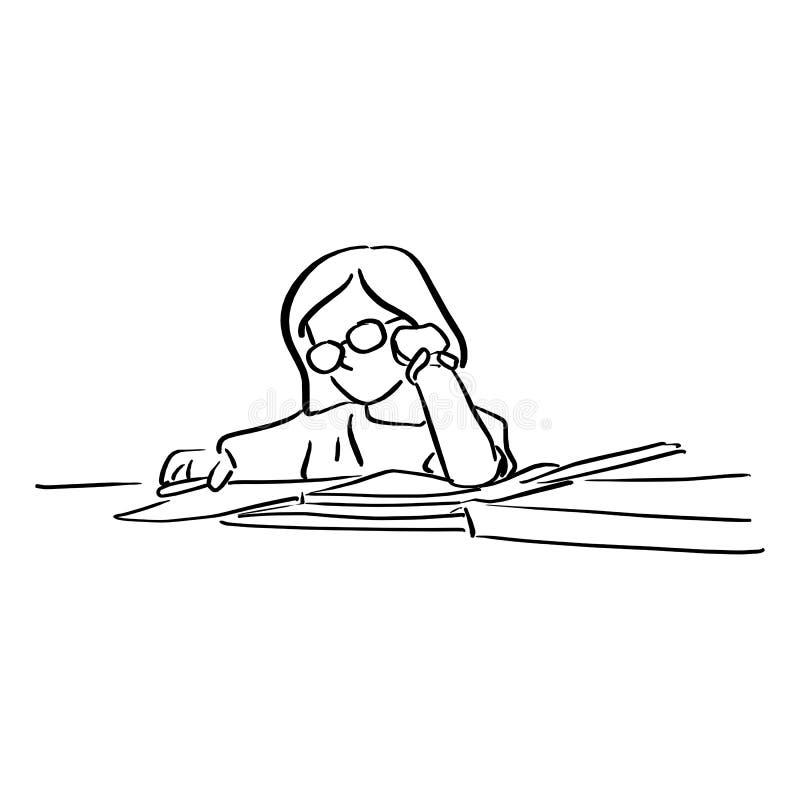Meisje met glazen die homeworks op lijstvector illustr doen vector illustratie