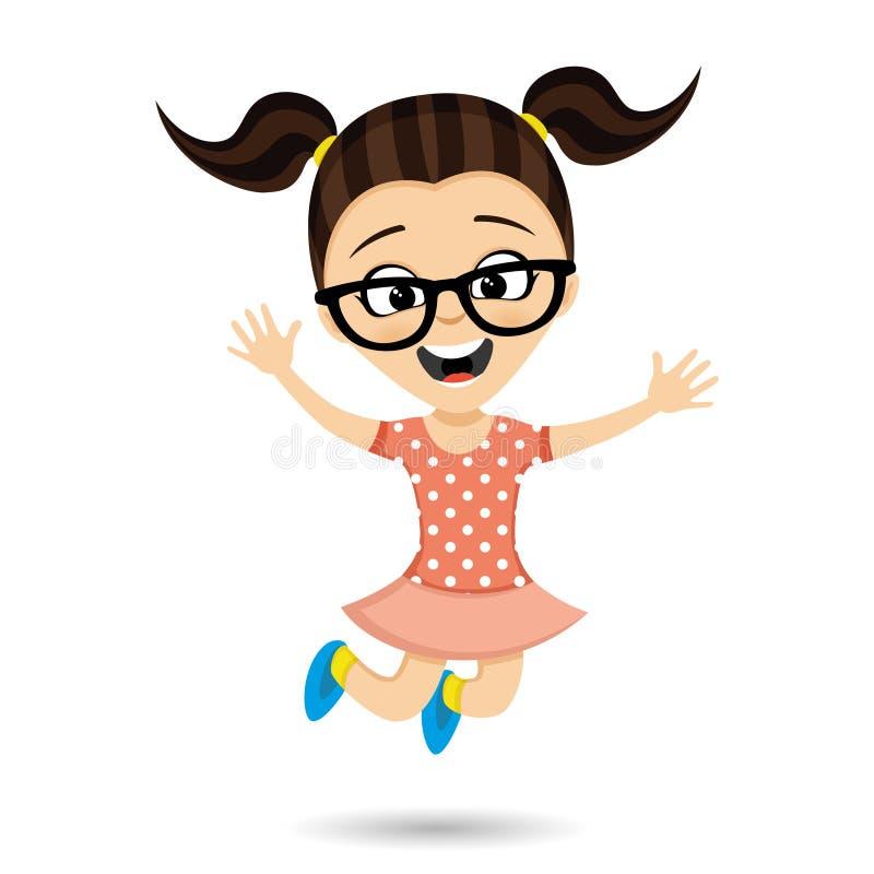 Meisje met glazen in een sprong stock illustratie