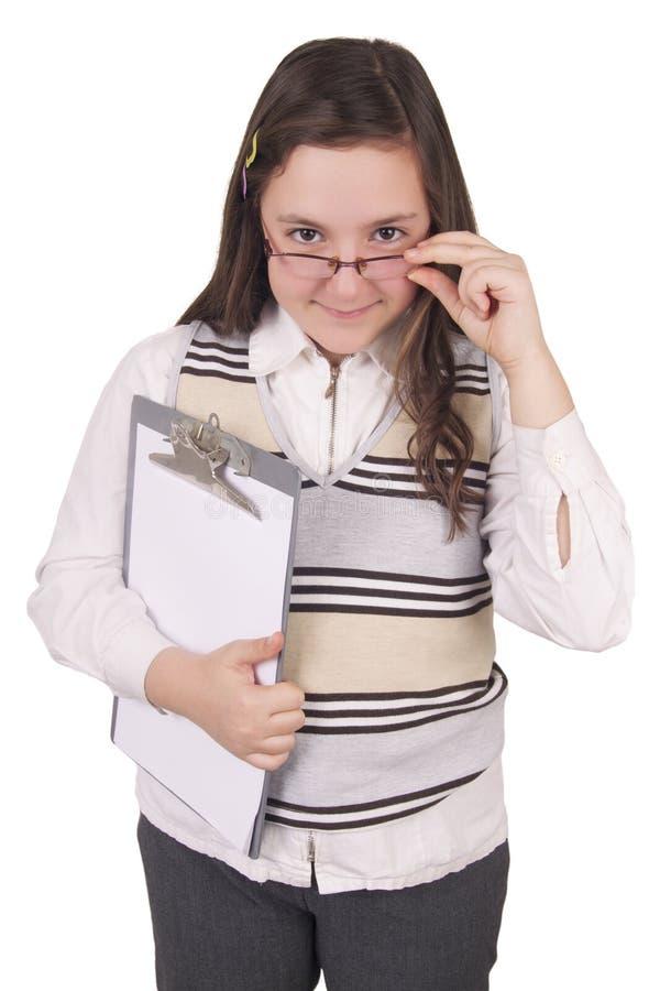 Meisje met glazen en blocnote stock fotografie