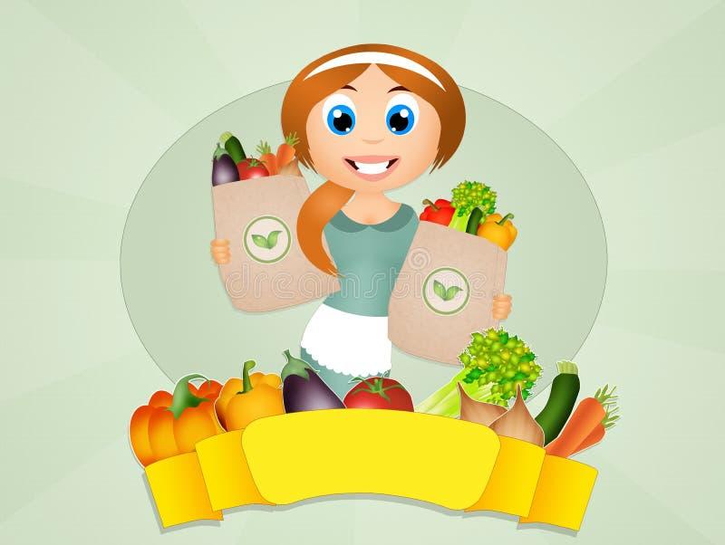 Download Meisje met groenten stock illustratie. Illustratie bestaande uit vers - 54086348