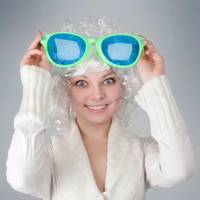 Meisje met grote glazen royalty-vrije stock foto
