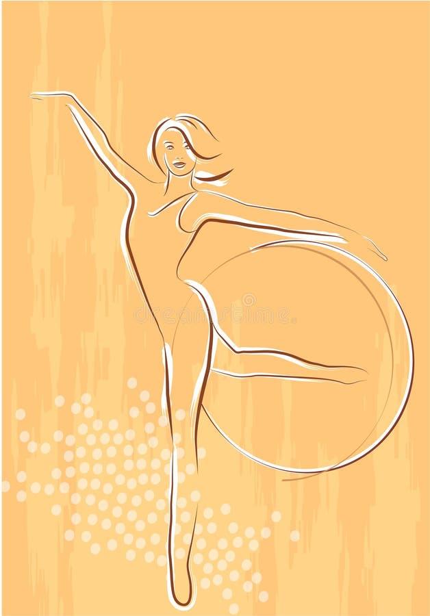 Meisje met gymnastiek- hoepels vector illustratie