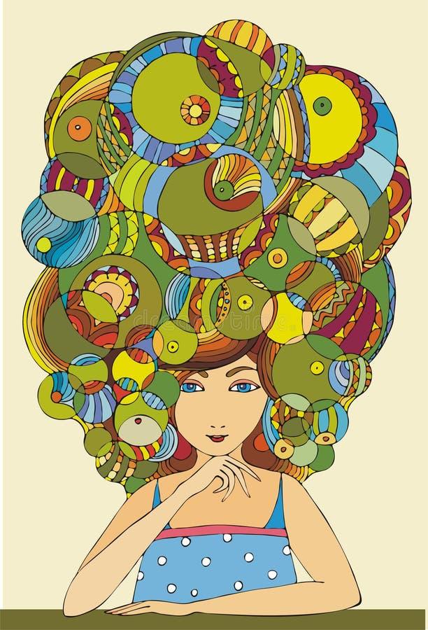 Meisje met haar royalty-vrije illustratie